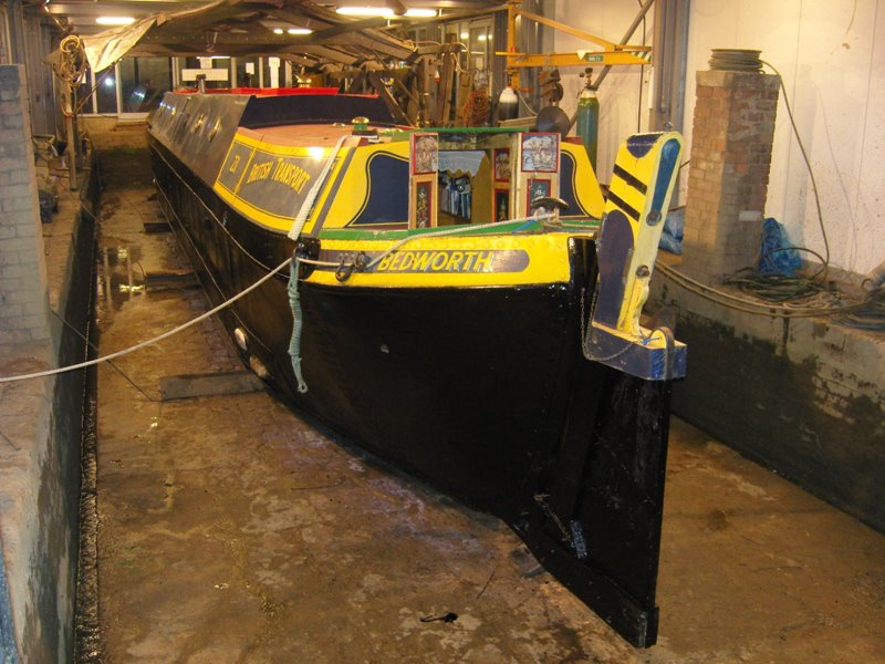Traditional narrowboat Bedworth in Dry Dock