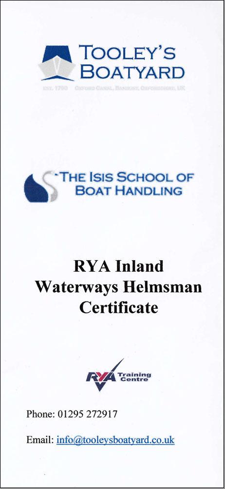 Helmsman Certificate course leaflet